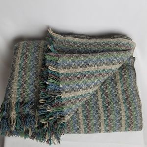 Vintage pure wool hand woven throw blanket